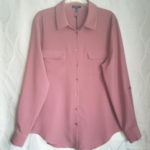 Madison Mauve Dusty Rose Long Sleeve Button Down